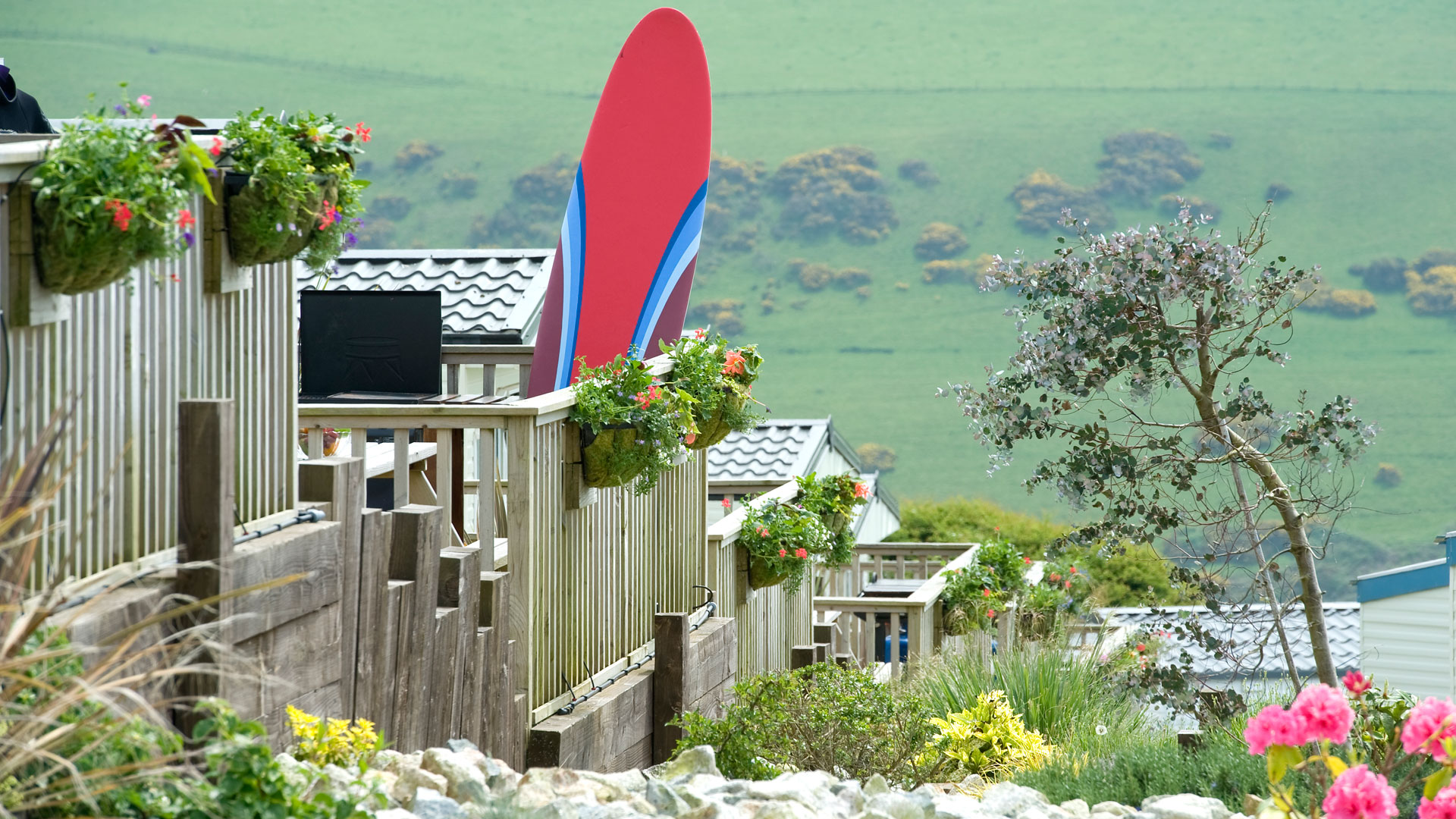 Surfboard-in-Spring-at-Woolacombe-Bay