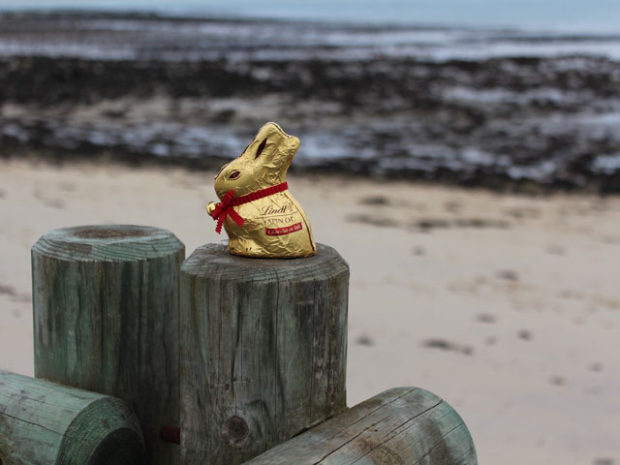 Chocolate Easter egg at the seaside