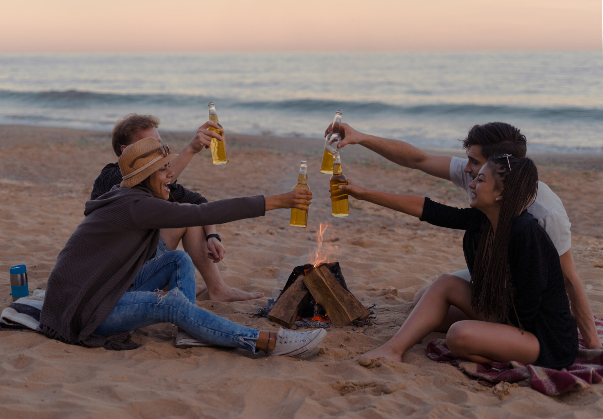 Drinking on the beach