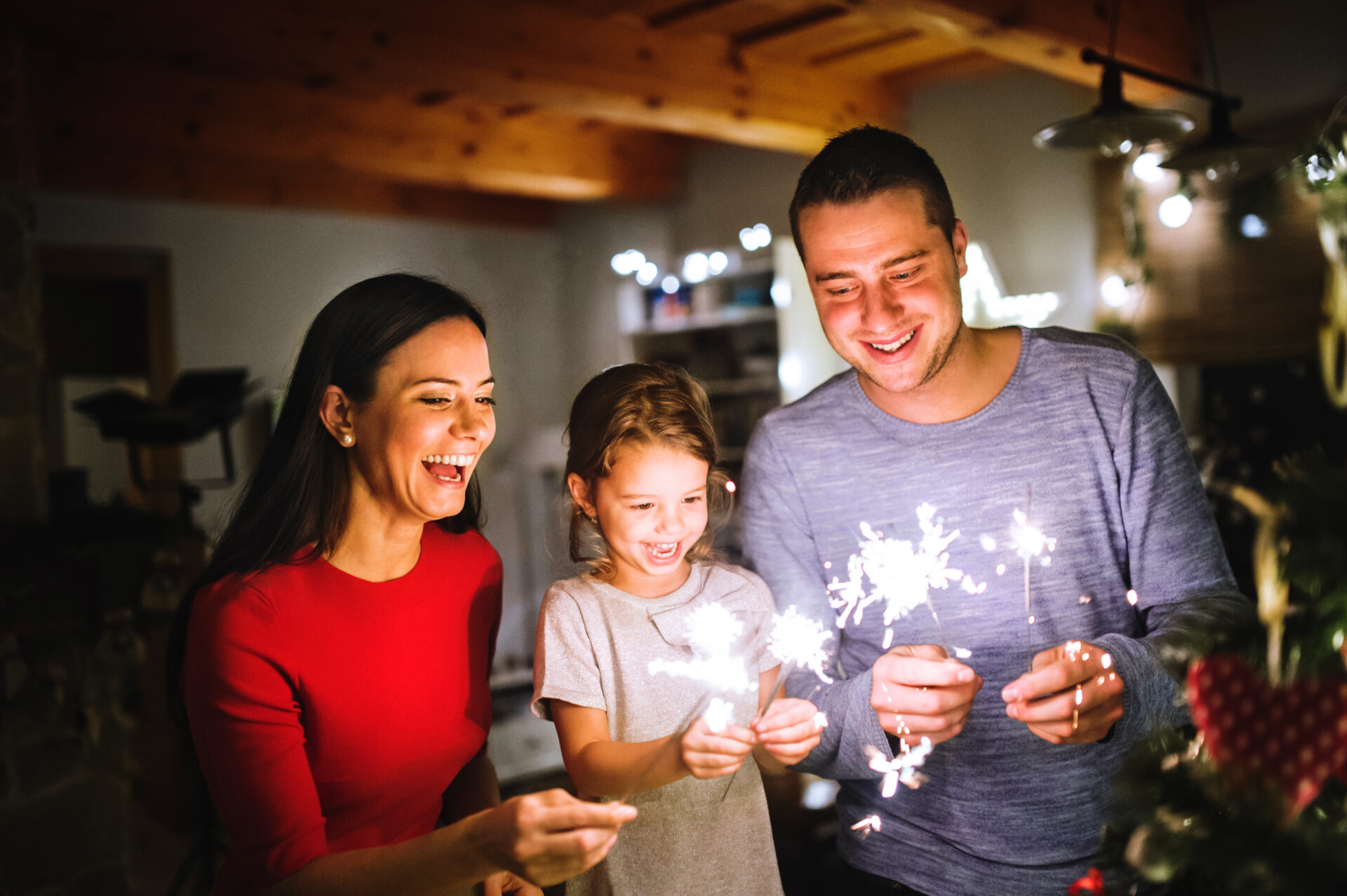 Young family, safe on bonfire night